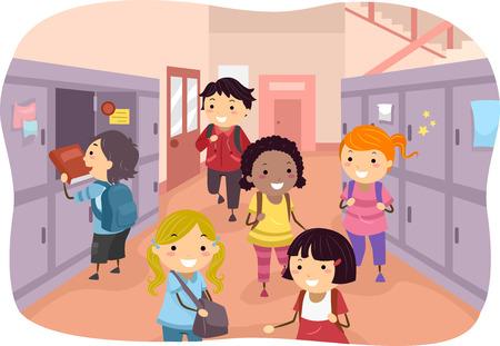 escuela caricatura: Ilustración de niños repartidos por los pasillos de la escuela