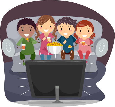 Illustration of Kids Eating Popcorn While Watching TV
