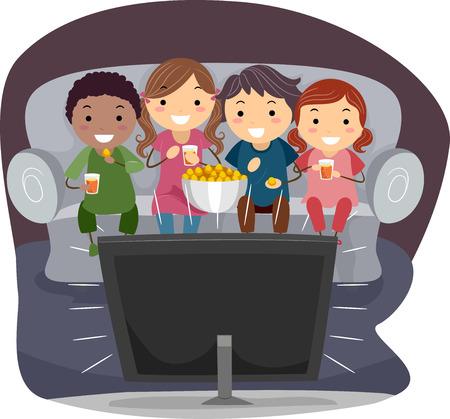 kid eat: Illustrazione di bambini che mangia popcorn mentre si guarda la TV