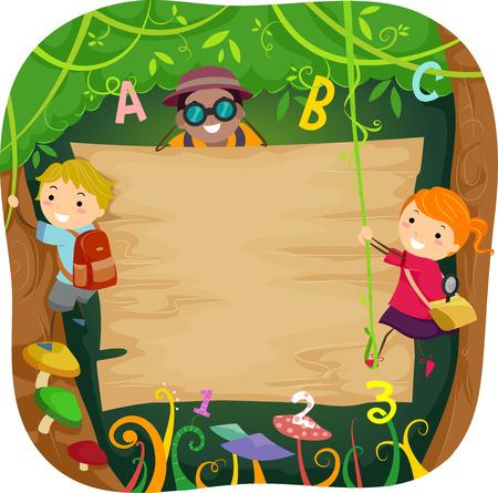 Ilustración de niños que suben un Consejo en el bosque rodeado de vides
