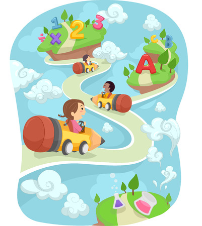Illustration of Kids Driving Around in Pencil Shaped Cars