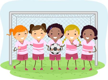 kleine meisjes: Illustratie van Little Girls Gekleed in Voetbal Uniformen