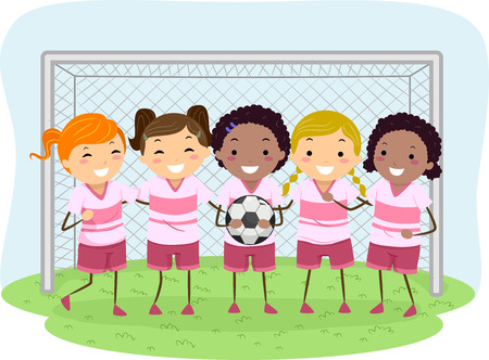 Illustration of Little Girls Dressed in Soccer Uniforms Illustration