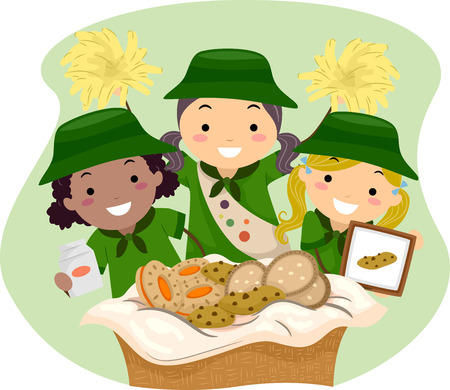 Illustration of Girl Scouts Selling Girl Scout Cookies Vector