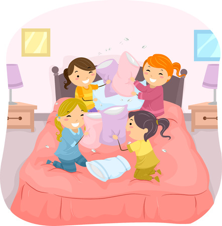 slumber: Illustration of Girls in a Slumber Party Having a Pillow Fight