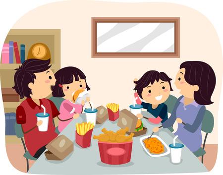 Ilustración de una Familia que come la comida rápida para la cena