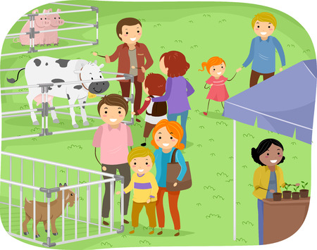 Illustration of a Family Observing Stalls in a Farm Expo Vector