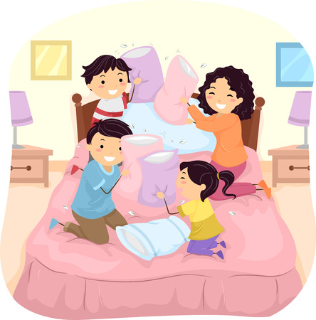 family playing: Illustration of a Family Having a Pillow Fight in Bed