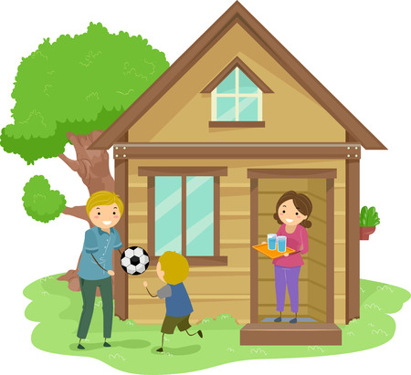 family in front of house: Illustration of a Family Bonding Together in the Front Yard of Their Tiny House