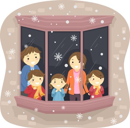 neige qui tombe: Illustration d'une famille à regarder la neige tomber de leur fenêtre
