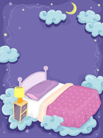 fantastical: Background Illustration of a Bed Surrounded by Clouds and Stars Illustration