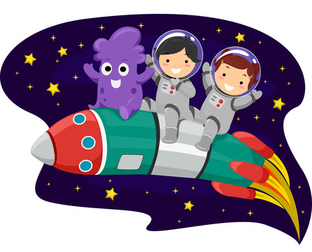 Illustration of Kids and an Alien Riding on a Space Rocket Ilustração