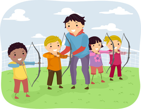 girls with bows: Illustration of Kids Taking Archery Lessons From Their Coach
