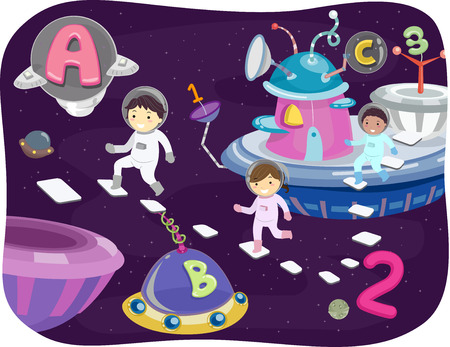 star clipart: Illustration of Kids Walking Around the Outer Space