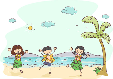 lei: Illustration of Kids Wearing Hawaiian Costumes Dancing in the Beach