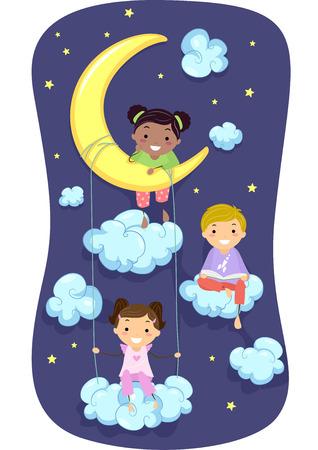 bonhomme allumette: Illustration de Kids in Pyjamas Entour� par nuages ??et les �toiles