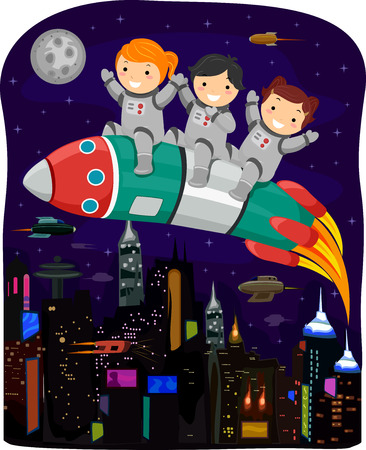cyberpunk: Cyberpunk Illustration of Kids in Spacesuits Riding a Space Rocket Illustration