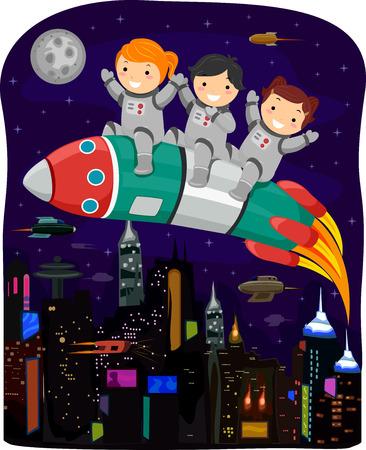 bonhomme allumette: Illustration Cyberpunk des enfants en combinaisons spatiales Conduire une fusée spatiale