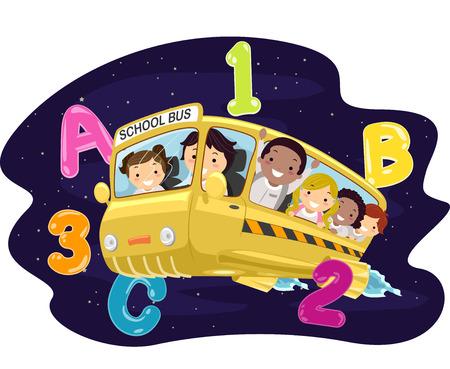 Ilustración de los niños en un autobús en el espacio ultraterrestre Ilustración de vector