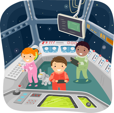 spaceship: Illustration of Kids in a Spaceship Control Room Illustration