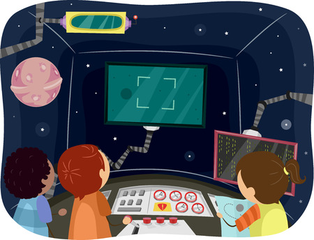 futuristic girl: Illustration of Kids Inside the Control Room of a Spaceship Illustration