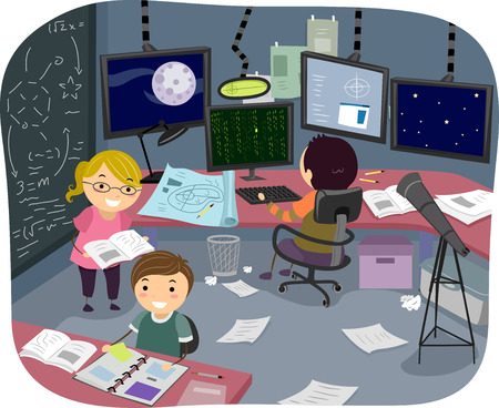 researches: Illustration of Kids Working on Their Individual Researches in the Research Room
