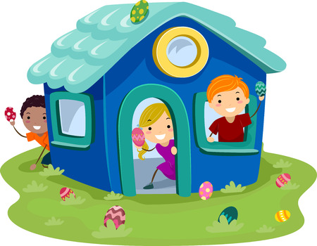 playhouse: Illustration of Kids Hunting Easter Eggs in a Miniature House
