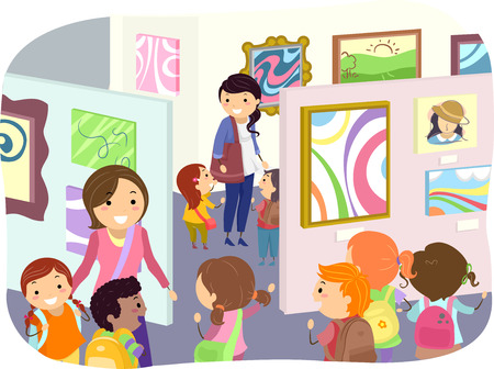 grade schooler: Illustration of Kids Checking Paintings in an Art Exhibit