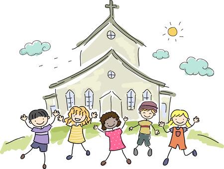sol: Ilustración de niños de pie alegremente delante de una Iglesia