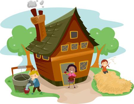 農場の家の外の別のタスクをやっている子供たちのイラスト  イラスト・ベクター素材
