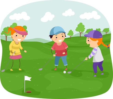 Illustratie van kinderen in een Golfbaan Playing Golf Stock Illustratie