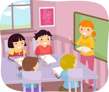 bonhomme allumette: Illustration de jeunes étudiants l'écoute de leurs enseignants Illustration