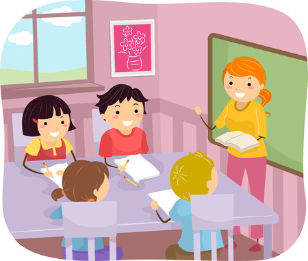 cartoon school girl: Illustration of Young Students Listening to Their Teacher Illustration
