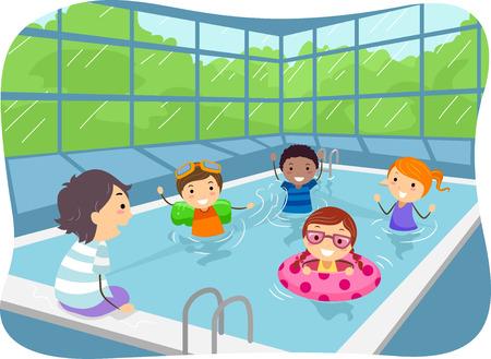 Illustratie van kinderen zwemmen in een overdekt zwembad