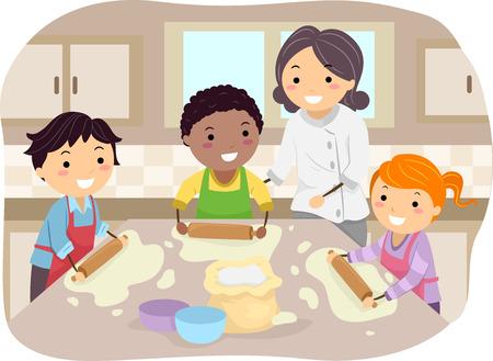 シェフの指導の下で自家製ピザを作る子供たちのイラスト  イラスト・ベクター素材