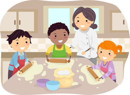 Illustration of Kids Making Homemade Pizza Under the Guidance of a Chef Vectores