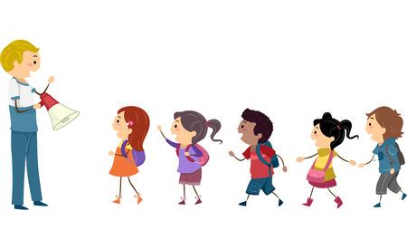 bonhomme allumette: Illustration des enfants en suivant les instructions d'un enseignant lors d'un exercice scolaire