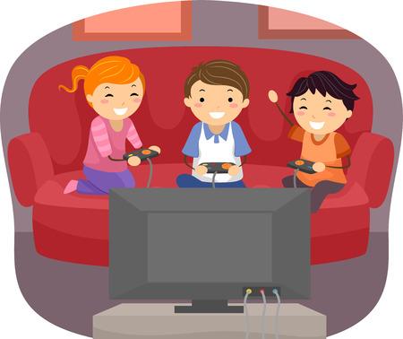 niños jugando videojuegos: Ilustración de niños jugando videojuegos en la sala de estar Vectores