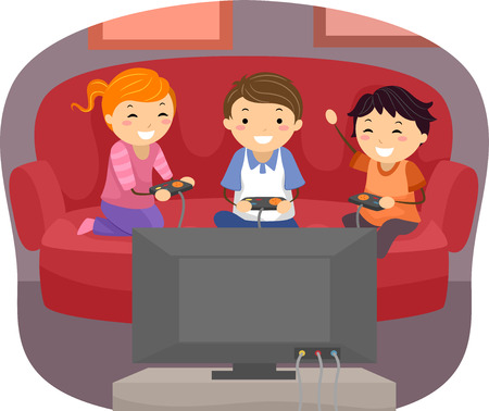 Illustration of Kids Playing Video Games in the Living Room Illustration