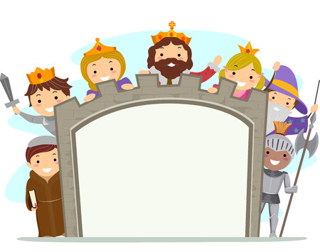 medieval king: Illustration of Kids in Medieval Costumes Holding a Board