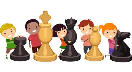 enfants qui jouent: Illustration des enfants �treignant g�ant des pi�ces d'�checs Illustration