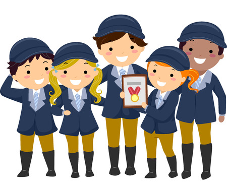equestrian sport: Illustration of Kids in Equestrian Uniforms Showing the Medal They Won