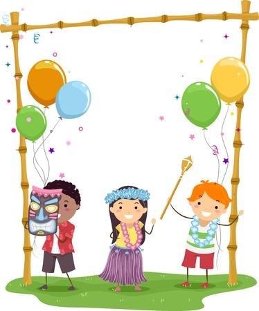 Ilustración de los niños que tienen una fiesta temática hawaiana