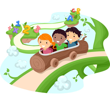 Illustration of Kids Riding a Hollow Log Down a Giant Vine Vector