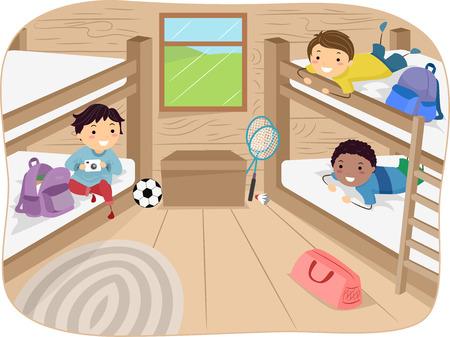 literas: Ilustración de los niños pequeños viajan en una cabina en un campamento