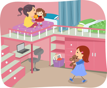 roommates: Illustration of Girls Sharing a Bedroom With a Loft