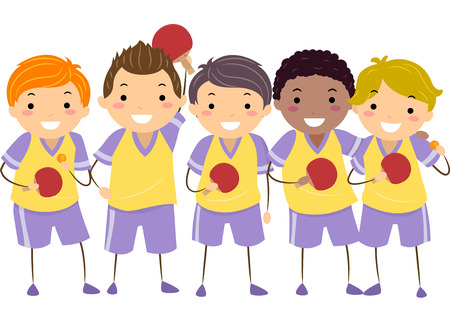 Illustration of Little Boys in Table Tennis Uniforms