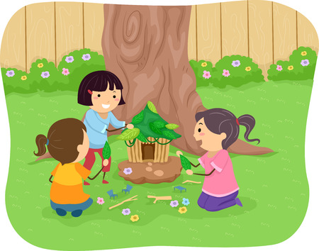 to make believe: Illustration of Little Girls Building a Fairy House