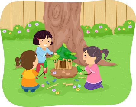 playmates: Ilustración de las niñas La construcción de una casa de hadas