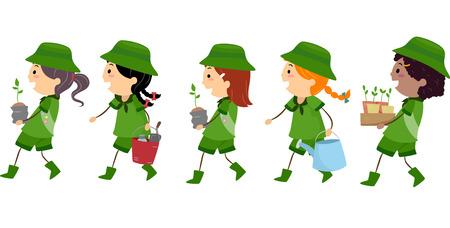 esploratori: Illustrazione di Girl Scouts trasporto Materiali usati o Piantare alberi Vettoriali